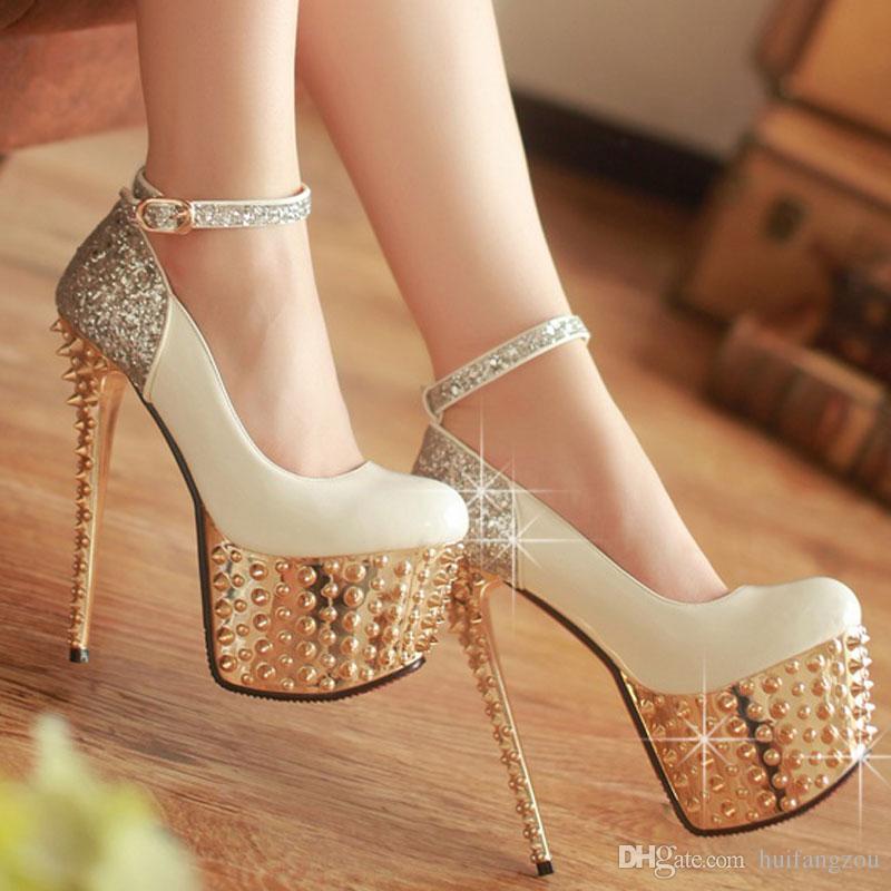 Elegant Ankle Strap White Heels Bridal Pumps Shoes Women High