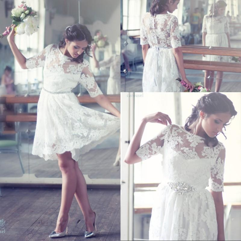 Bohemian Wedding Dress Knee Length: Bohemian style sleeves lace ...