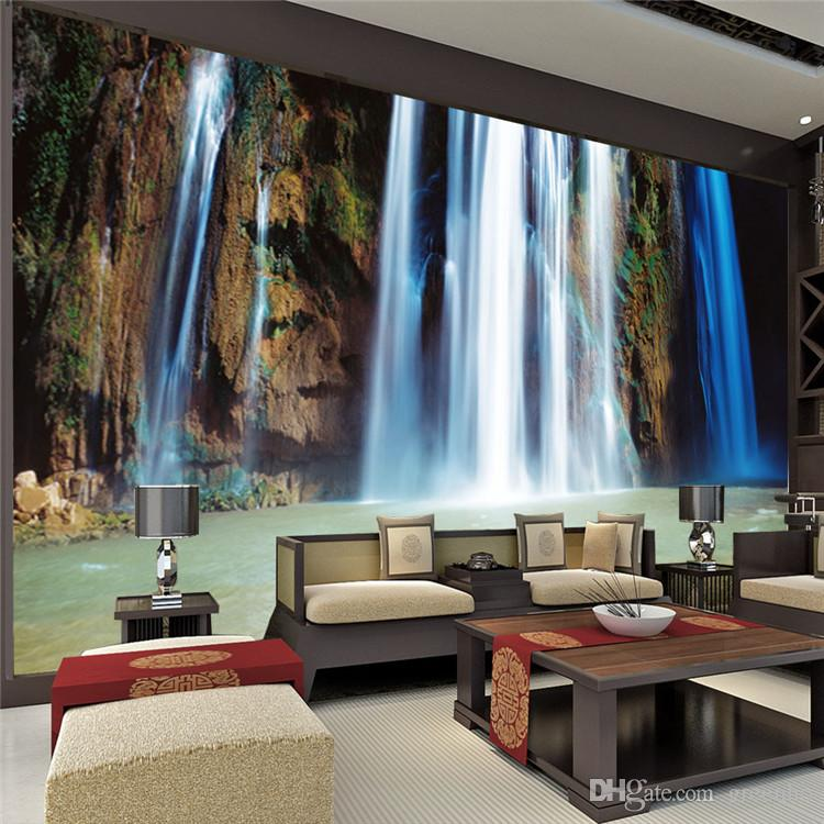 custom large landscape waterfalls wallpaper wall painting. Black Bedroom Furniture Sets. Home Design Ideas
