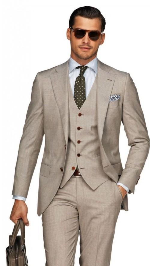 Beach Brown Linen Men Wedding Suits Casual Notched Lapel Grooms