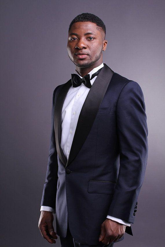 Custom Navy Blue Tuxedos Wedding Suits For Men Black Shawl