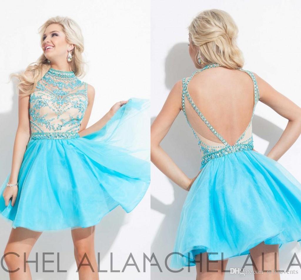 Bling Crystal Beaded Sky Blue Homecoming Dresses Rhinestones Tulle ...