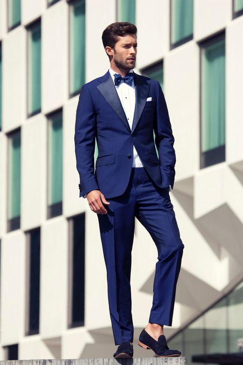 2015 Blue Handsome Business Suit Slim Bridegroom Tuxedos Groomsmen ...
