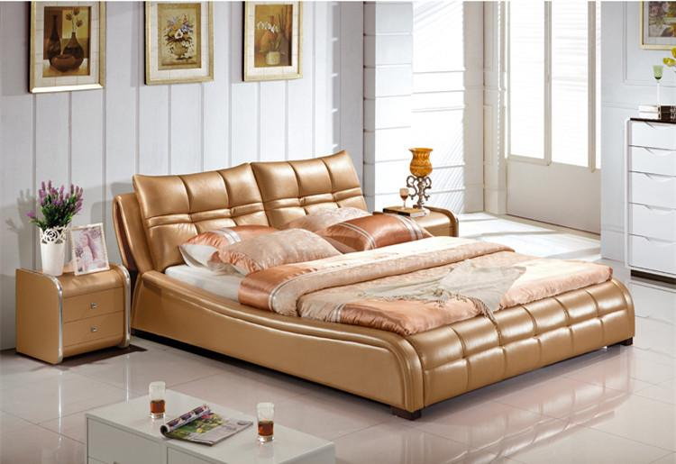 genuine leather bed luxury style golden simple fasion double person good quality free luxury golden leather double bed home bedroom furniture