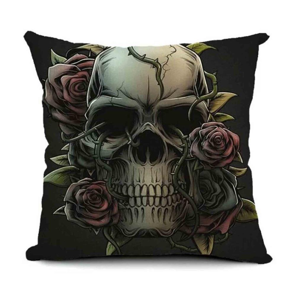 Skull Printed 45x45cm Linen Cushion Covers For Sofa Decorative Throw Pillow Case