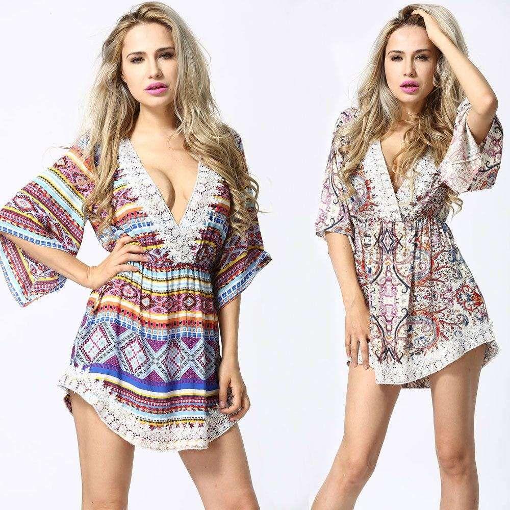 2018 Ladies Boho Sexy Short Dress Vestidos Print Vintage ...