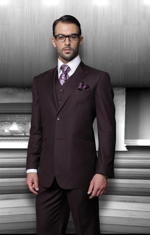 Dark Purple Wedding Suits for Men Notched Lapel Grooms ...