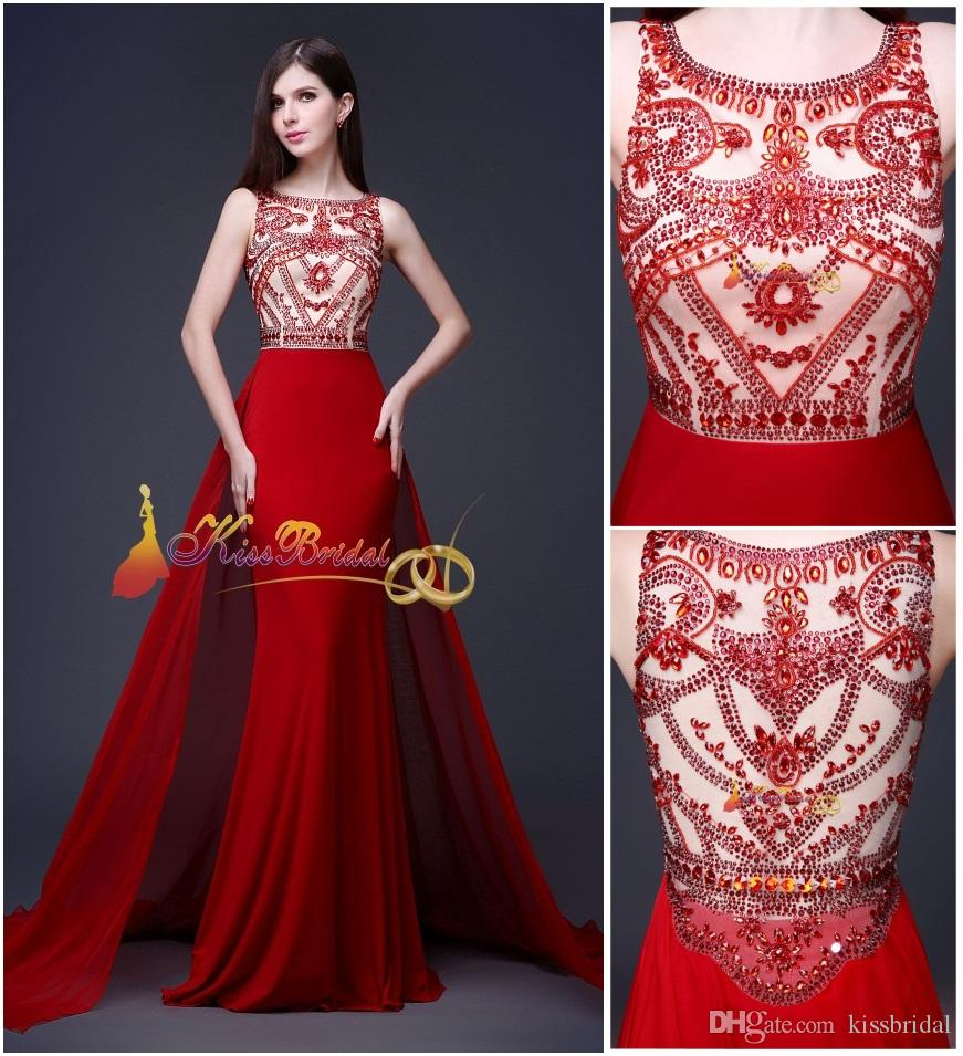 2015 Red Crystal Beaded Prom Dresses Designer Winter Formal Dress ...
