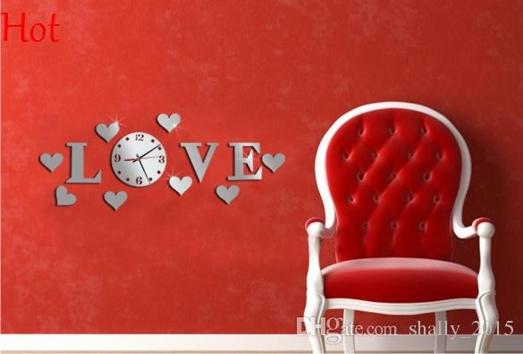 Wedding Decor Clock Love Letters Home Decoration English 3d Mirror Wall Stickers Art Diy Modern Home