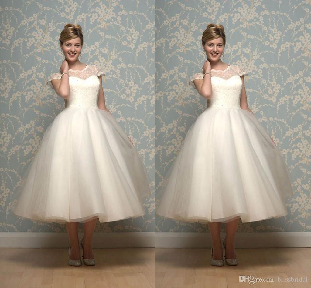 1950 S Ivory Organza Tea Length Wedding Dress to
