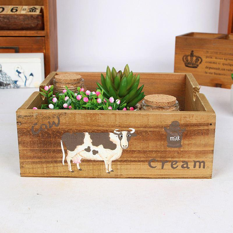 Online cheap storage boxes bin handmade zakka wood box - Boite rangement vintage ...