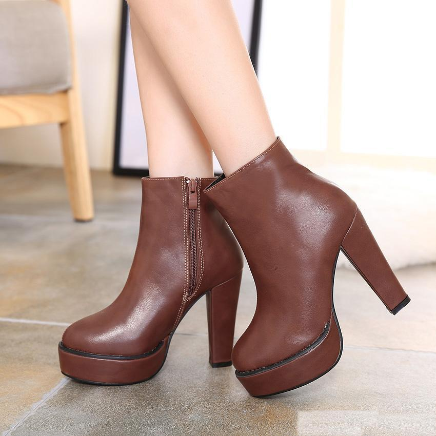 Retro Wind Solid Color Chunky Heels Platform Boots Brown Black Pu