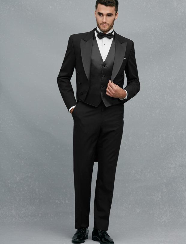 New Arrival Double Breasted Black Groom Tuxedos Peak Lapel Groomsmen Best Man Mens Weddings Prom
