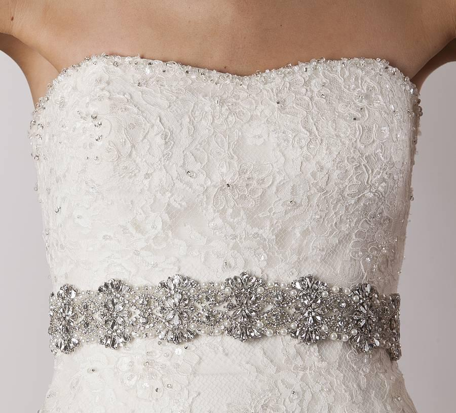 Discount 2015 cheap bridal belts with crystals bridal for Wedding dress belt sash