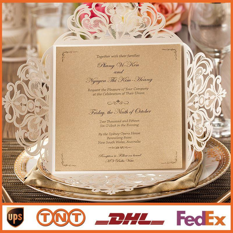 Wedding Invitations Gold Paper Free Printing Laser Cutting Wedding  Invitation Flowers Hollow Wedding Cards HQ1131
