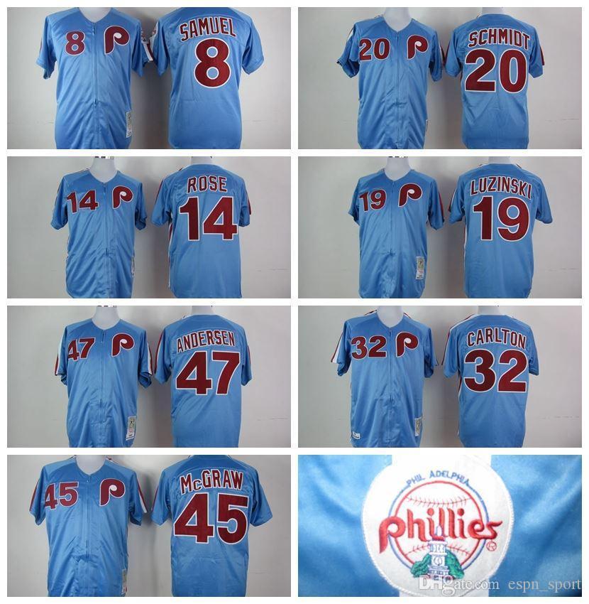 2016 New Cheap M&N Throwback Retro Philadelphia Phillies #14 Pete Rose #20 Mike Schmidt #32 ...