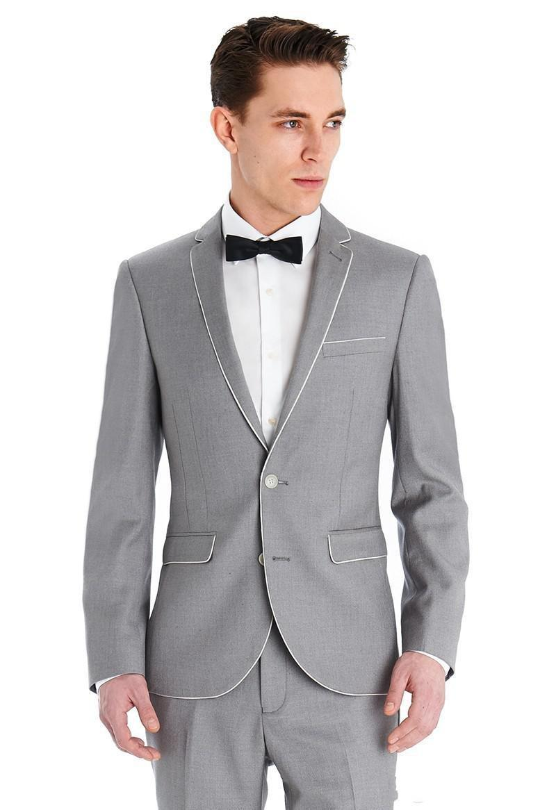 New Design Light Grey Center Vent Groom Tuxedos Slim Fit Groomsman ...