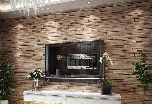 10 Meter3d Luxury Wood Blocks Effect Brown Stone Brick 10m Vinyl Wallpaper Roll Living Room