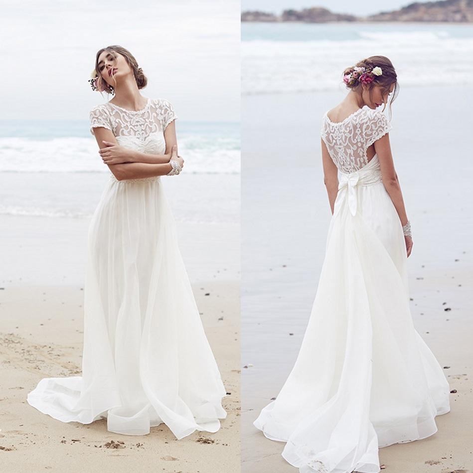discount appliqued anna campbell wedding dresses sheer scoop capped sleeves beach bridal dress a