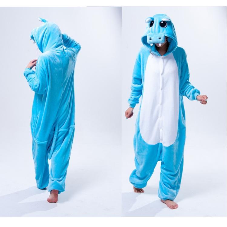 Cute Hippo Animal Onesies For Adults Fleece Onesies Pyjamas Women ...