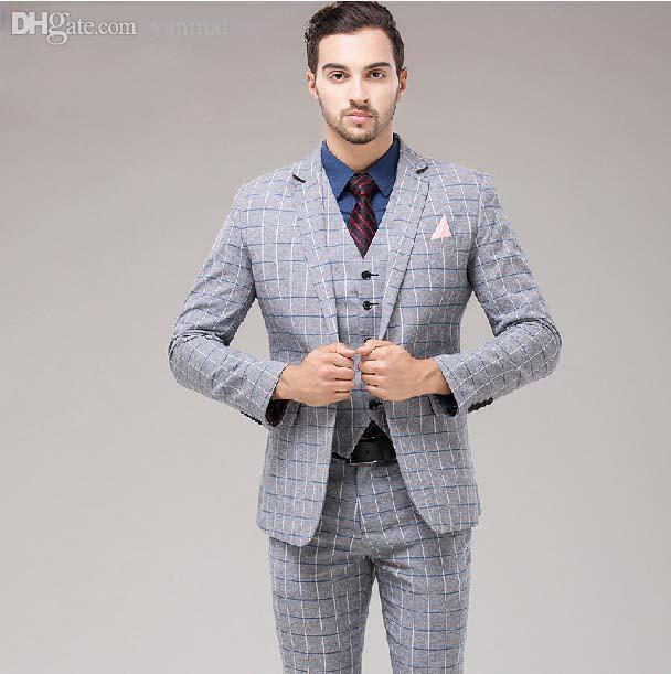 Wholesale-Fashion Male Formal Dress Light Grey Plaid Set Men's