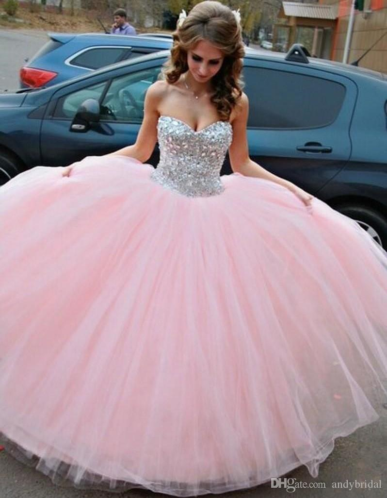 Baby Pink Quinceanera Dresses 2015 Prom Dresses With Rhinestones ...