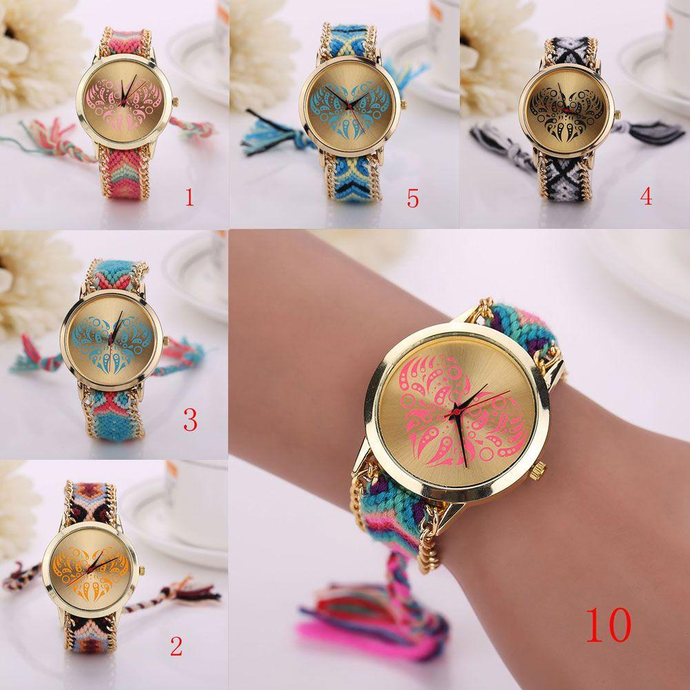 Wrist watch on discount - 2015 Luxury Watches For Women Classic Geneva Ethnic Braided Analog Quartz Chain Bracelet Wrist Watch Heart Pattern