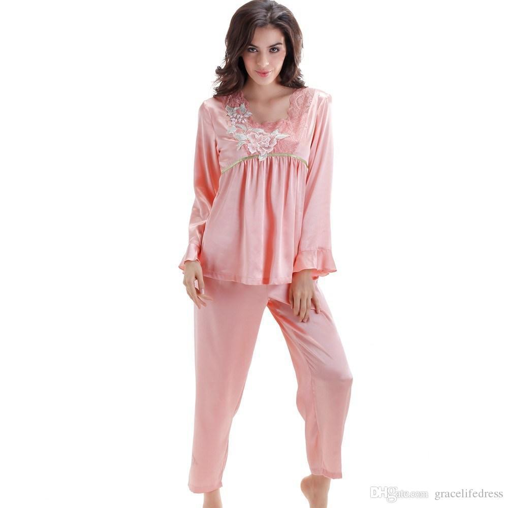2017 Women Casual Sleepwear Pants Two Piece Pajamas Set Elegant ...