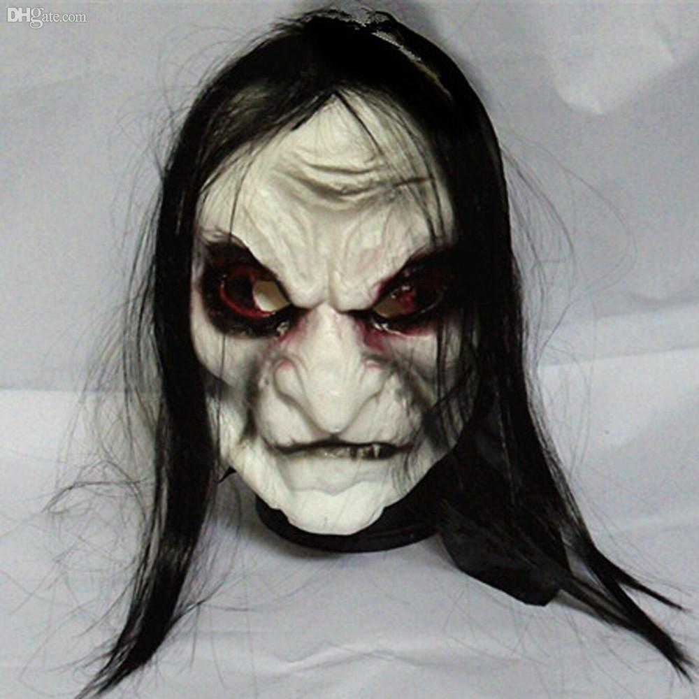 Wholesale Halloween Black Long Hair Ghost Mask Full Face Halloween ...
