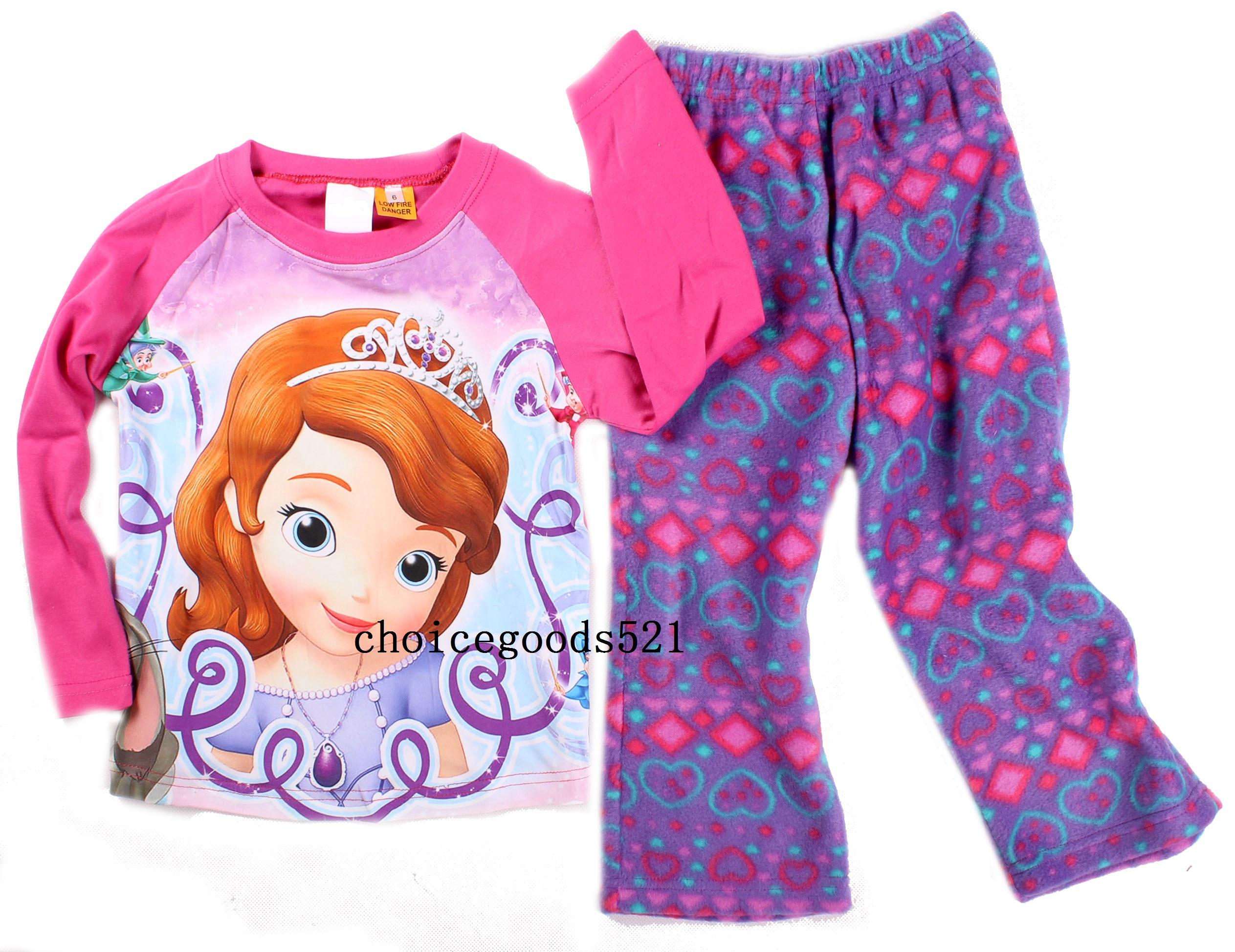Kids Pajamas Children Winter Warm Pajamas Girls Princess Pajamas ...