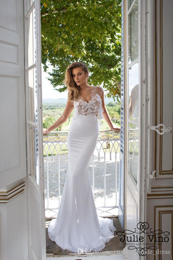 Vente En Gros Pas Cher!!!2015 Blanc Sirène Robes De Mariée Pure ...