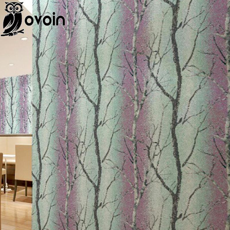 Bedroom Design Purple Birch Tree Wallpaper Roll Colorful Embossed Forest Mural Wall Paper For Tv