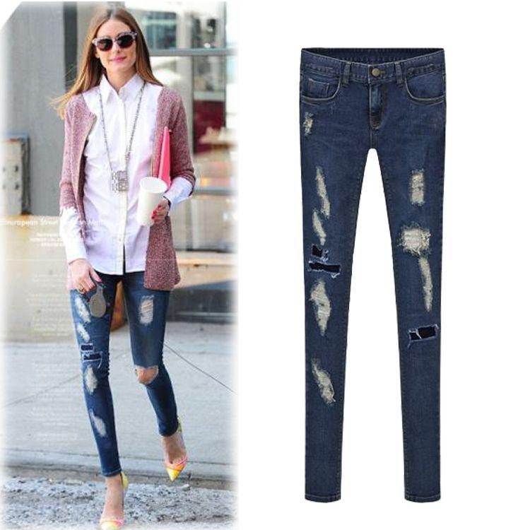 2016 New European Style Fashion Women Stretch Jeans Ladies Casual ...