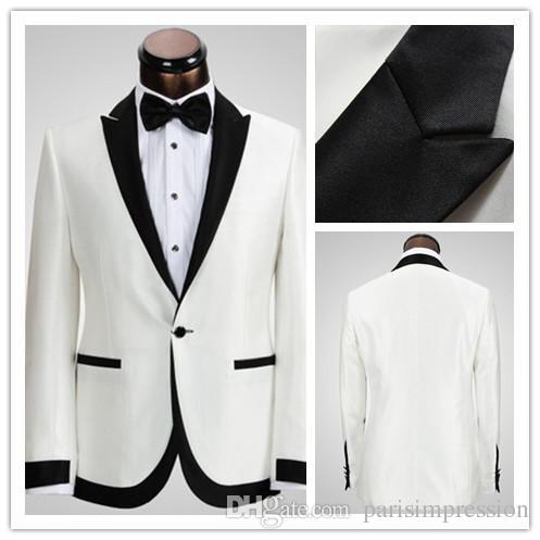 2015 White Ivory Wedding Suits For Men Tuxedos Black Satin Peaked