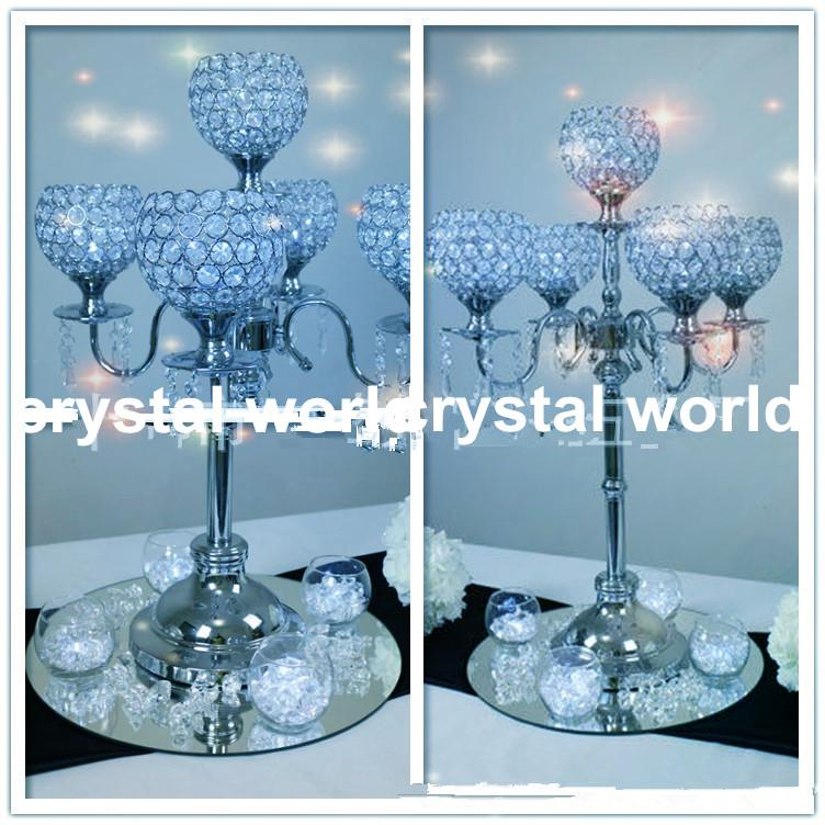 Marvelous 5 Arms Crystal Wedding Centerpieces Candelabra,hanging Crystal Decoration Candelabra  Table Pieces Candle Holder Wedding Crystal Ball Candle Holder 5 Candle ...