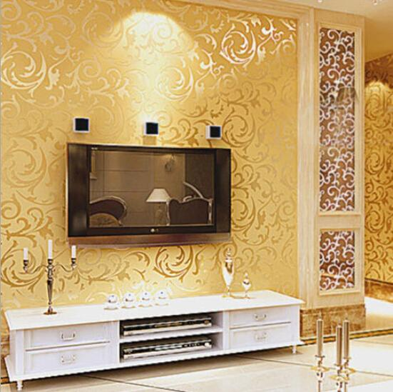 Gold Wall Home Decor : Wallpapers for home decor gold silver coffee non woven