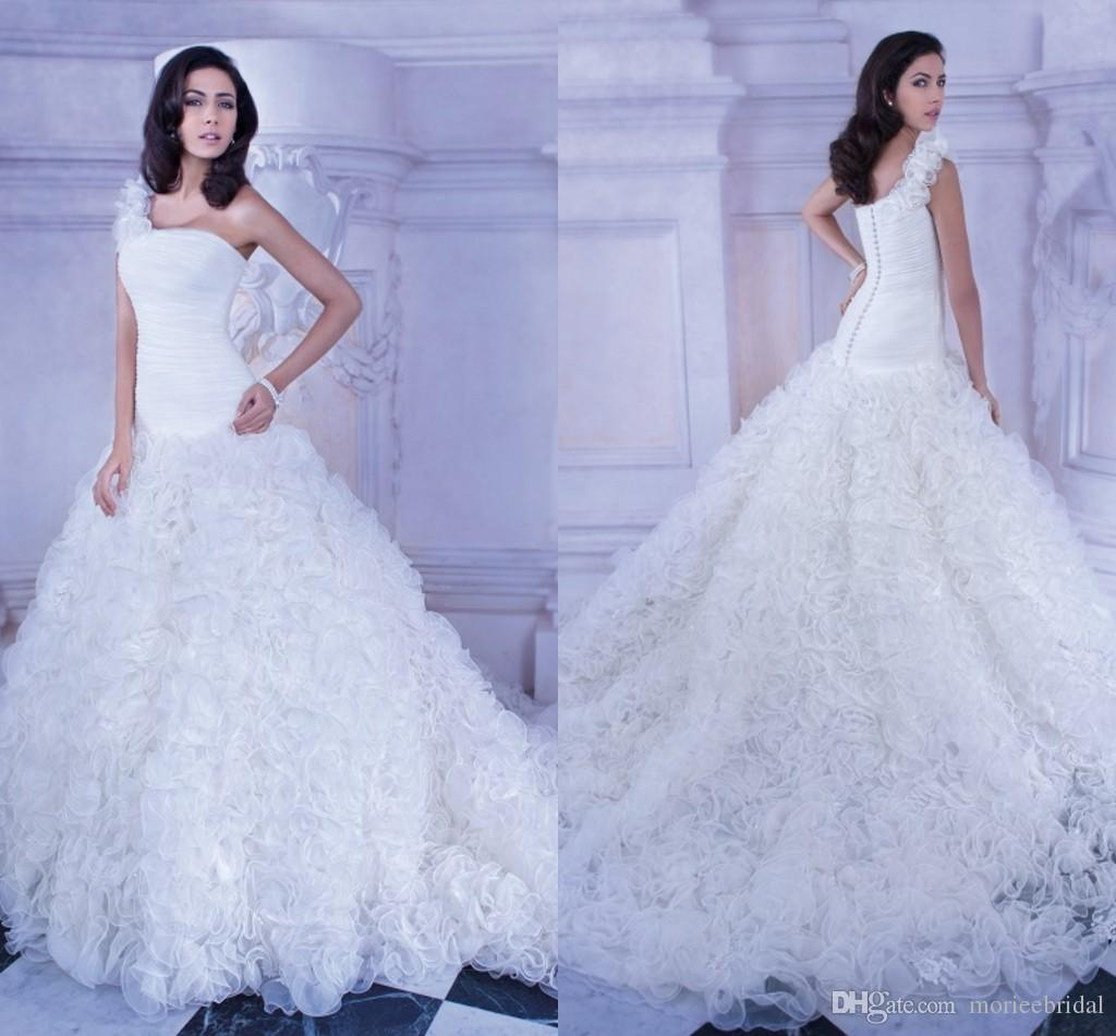 e Shoulder Ruffled Organza Wedding Dresses Bodice With