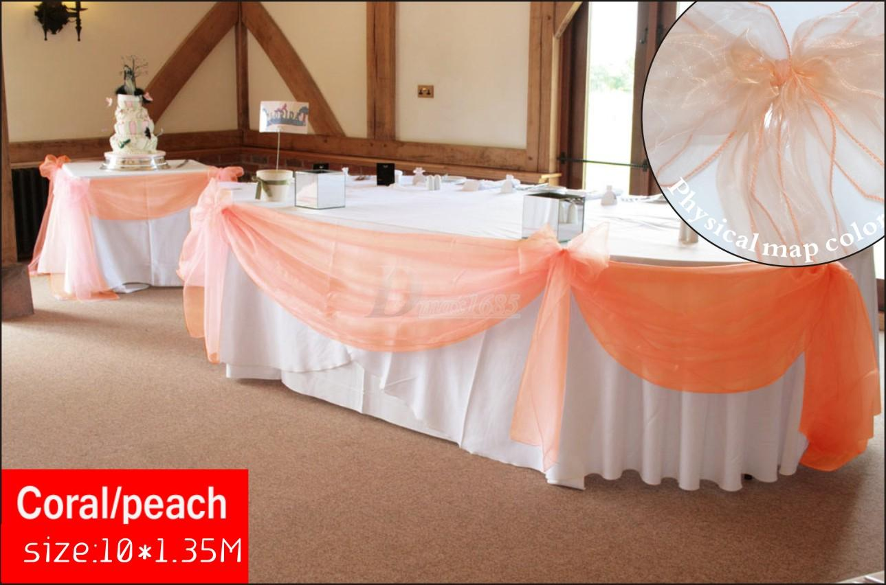 New Color Coral Peach Organza 10m135m Top Table Swags