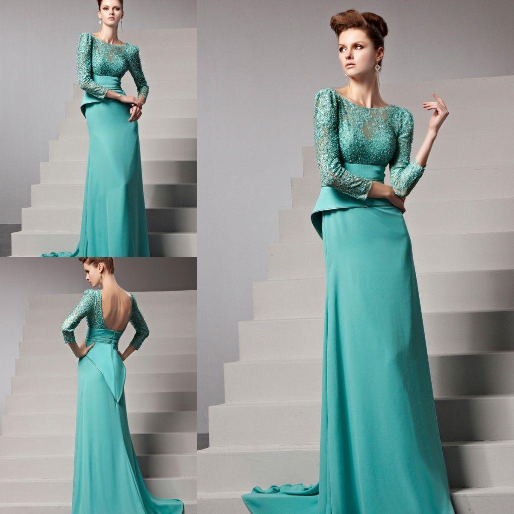 Aqua Backless Long Sleeve Evening Dresses Lace Upper Chiffon ...