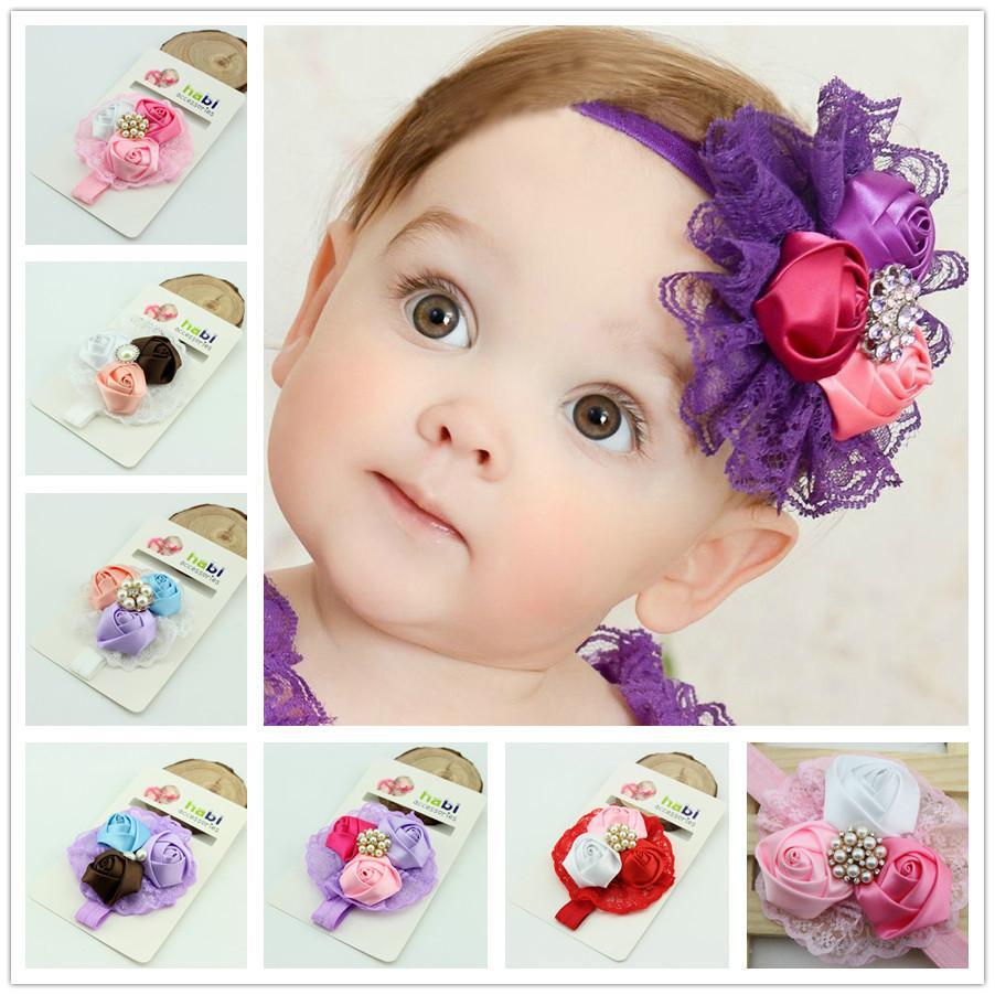 Beautiful baby hair accessories - New Design Baby Girl Headband Newborn Headbands Shabby Chic Flower Hairband Christening Headband Baptism Hair Bows Hairbands Baby Girl Headbands Baby