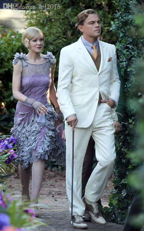 2017 Wholesale 2016 The Great Gatsby Dress White Suit For Groom