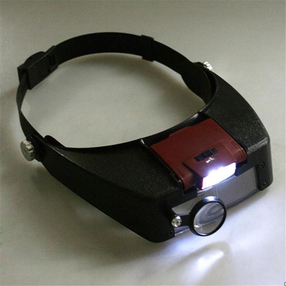 Online cheap 10x headband magnifier head band 2led light for Craft light with magnifying glass