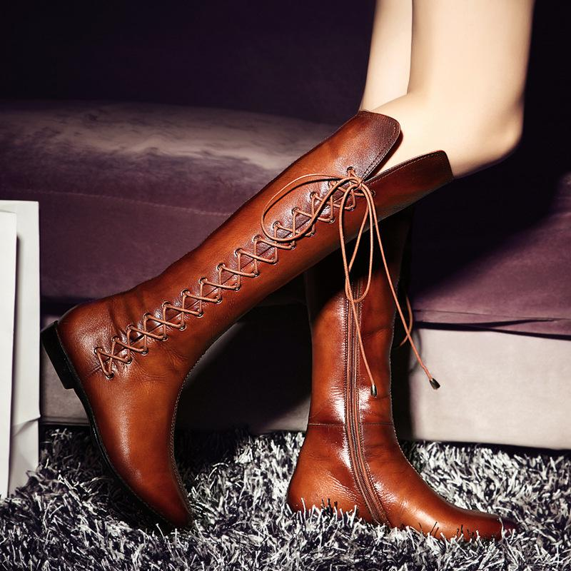 European High Boots Genuine Leather Fur Boots Patent Shoes Top ...