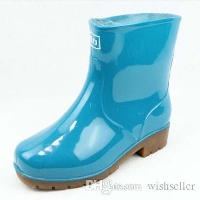 Women Rain Shoes Waterproof Boots Rubber Non-Slip Short Tube Flat ...