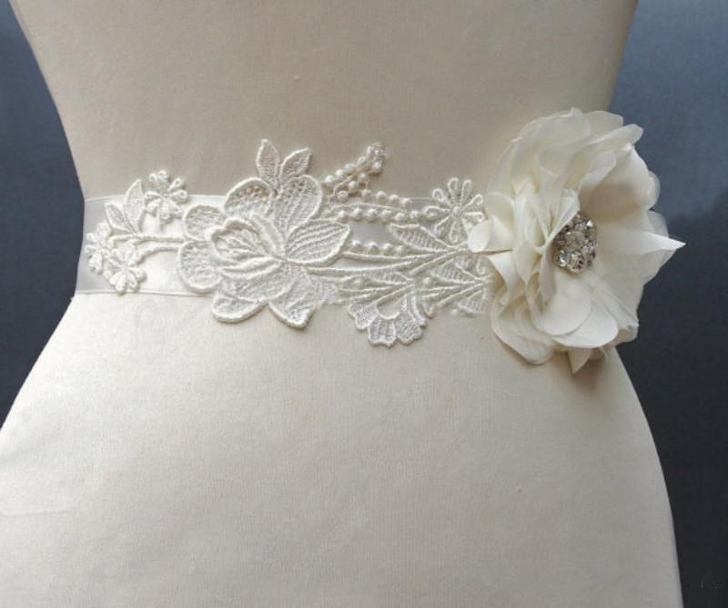 cheap flower lace bridal sashes crystals