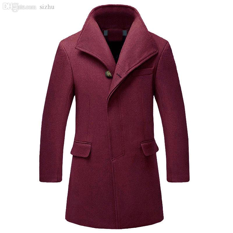 Fall-New Winter Peacoat Fashion Brand Men Woolen Long Overcoat Men