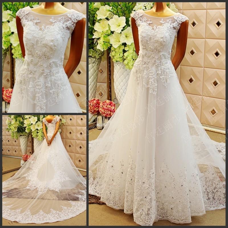 Cheap 2015 wedding dresses short cap sleeve scoop crystsal for Cheap second wedding dresses