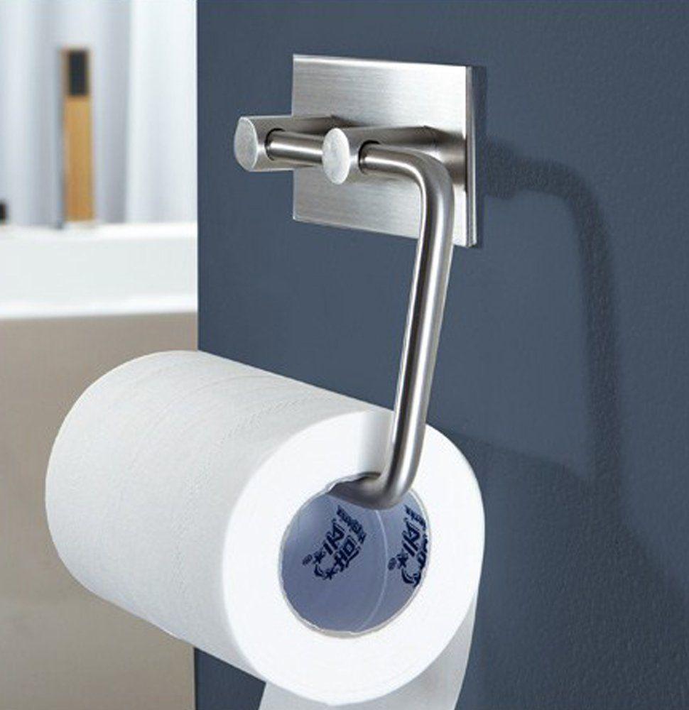 brushed stainless steel bathroom tissue holder / toilet paper
