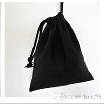 Black Canvas Drawstring Pouch Plain 100% Natural Cotton Sack Bag ...