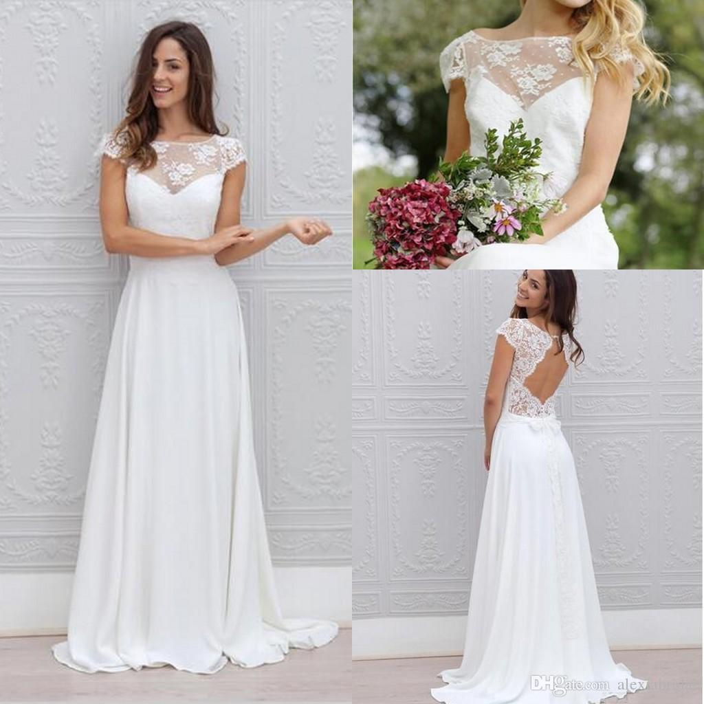 Simple Cheap Short Sleeve Chiffon Wedding Dresses Backless